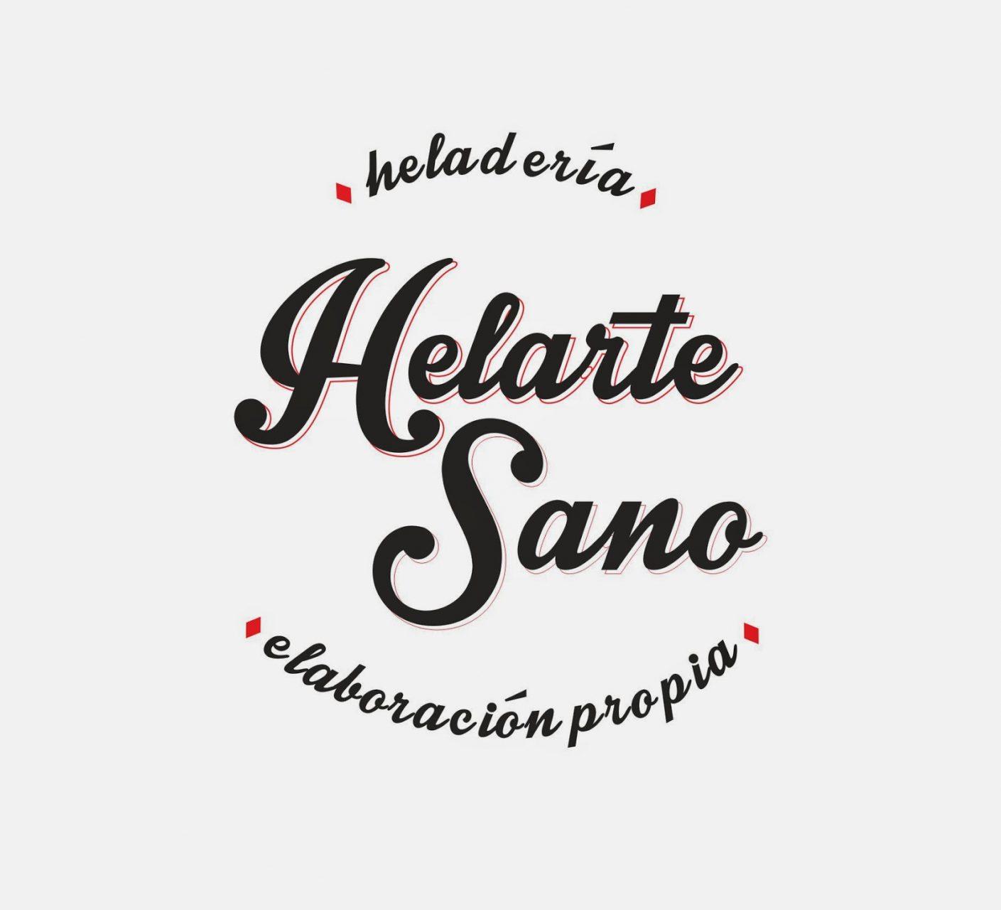 logotipo helarte sano brading logo imagen corporativa rojo blanco heladeria ice cream red white